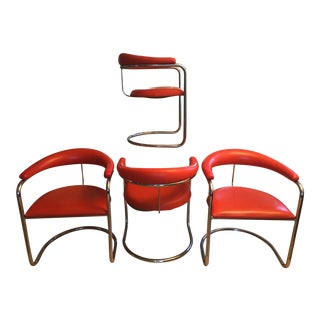 Vintage Anton Lorenz Thonet Style Chrome Cantilevered Tube Chairs - Set of 4 For Sale