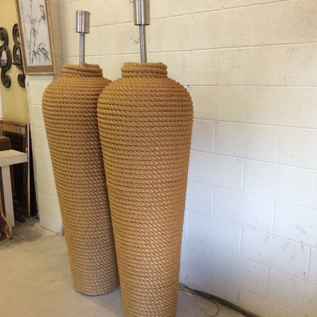 Contemporary Massive Fusion Specialties Rope Wrapped Floor Lamps - a Pair For Sale - Image 3 of 6