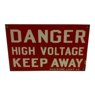 1930s Vintage Danger Sign by Duquesne Light Company For Sale