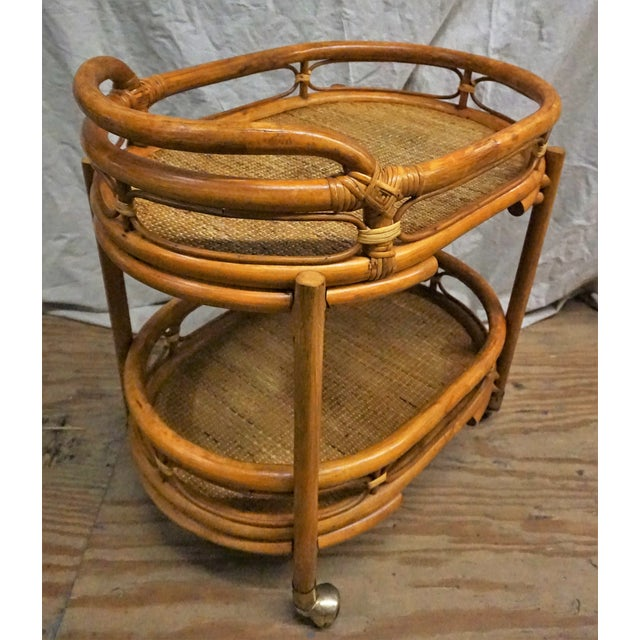 Vintage 1970s Bamboo Bar Cart - Image 3 of 5