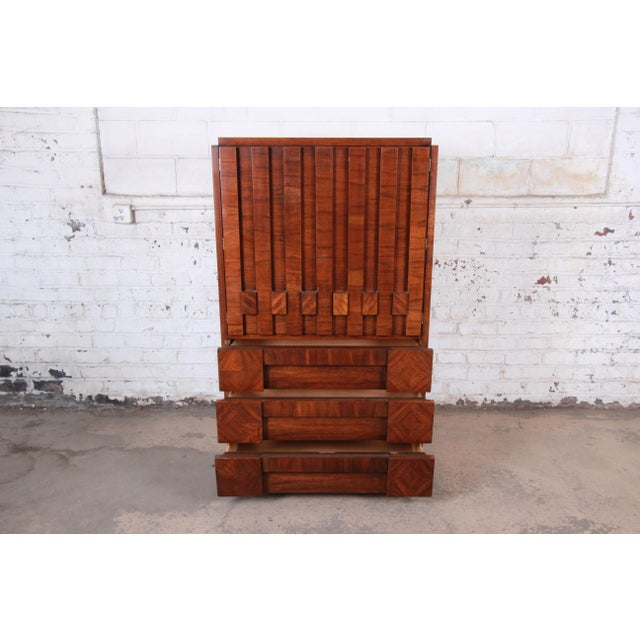 1970s Paul Evans Style Mid-Century Modern Brutalist Walnut Armoire Dresser by Lane For Sale - Image 5 of 13