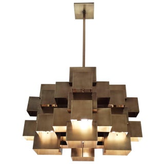 Oversized Cubist Geometric Brass Chandelier For Sale