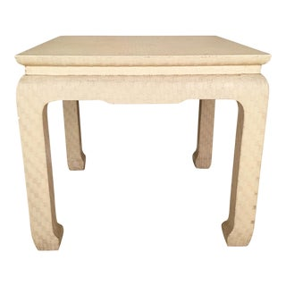 Baker Grasscloth Wrapped Lacquered End Table