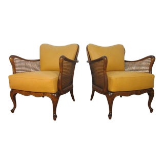 Italian Hand-Caned Leather Armchairs in the Style of Paolo Buffa For Sale