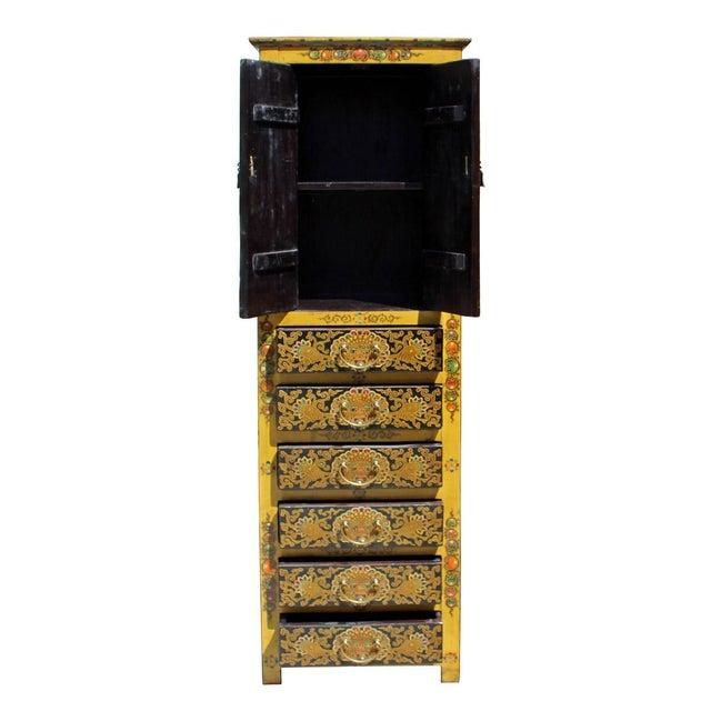 Chinese Tibetan Dragon Slim Multi Drawer Cabinet - Image 5 of 6