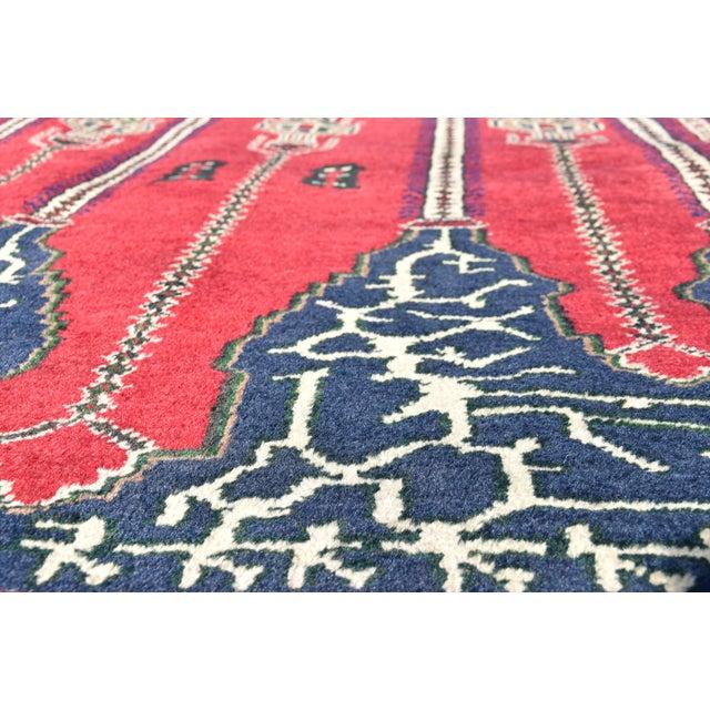 Turkish Vintage Oriental Design Red-Blue Color Carpet - 4x8.5 For Sale - Image 9 of 12