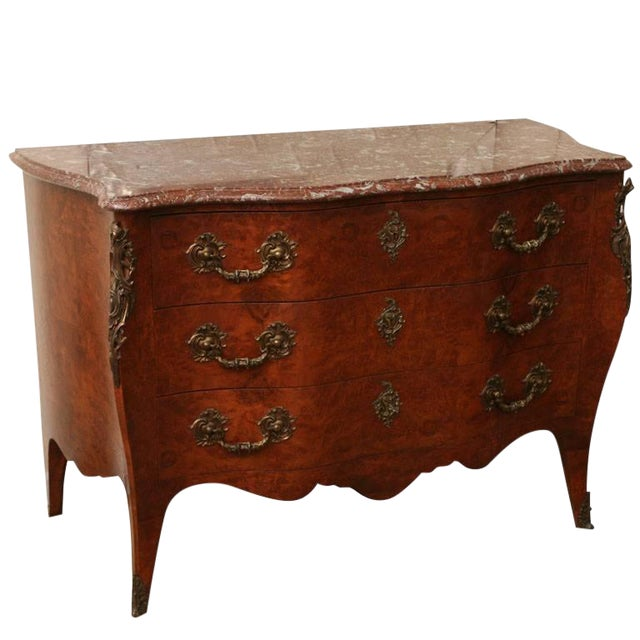 Antique Louis XV Chest of Drawers With Verona Marble Top For Sale