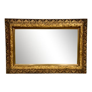 Antique 19th Century Carved Rectangular Gold Giltwood Mirror For Sale