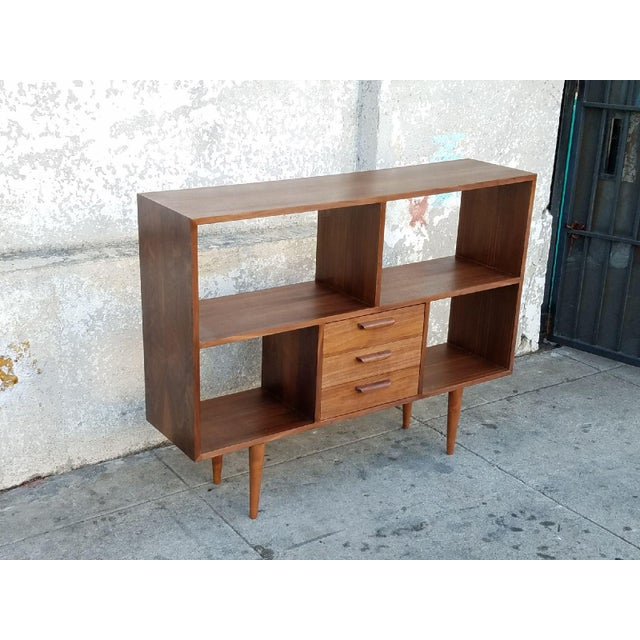Vintage Modern Walnut Bookshelf For Sale - Image 4 of 5