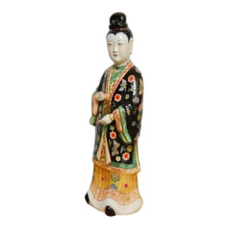 Chinese Famille Rose Enameled Porcelain Beauty Statue For Sale