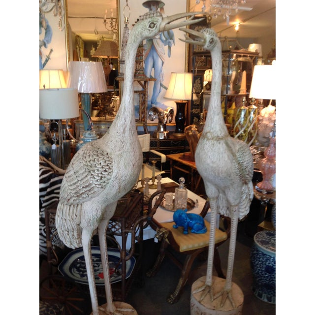 Grandly Scaled Pair of Vintage Carved Cranes For Sale - Image 9 of 14