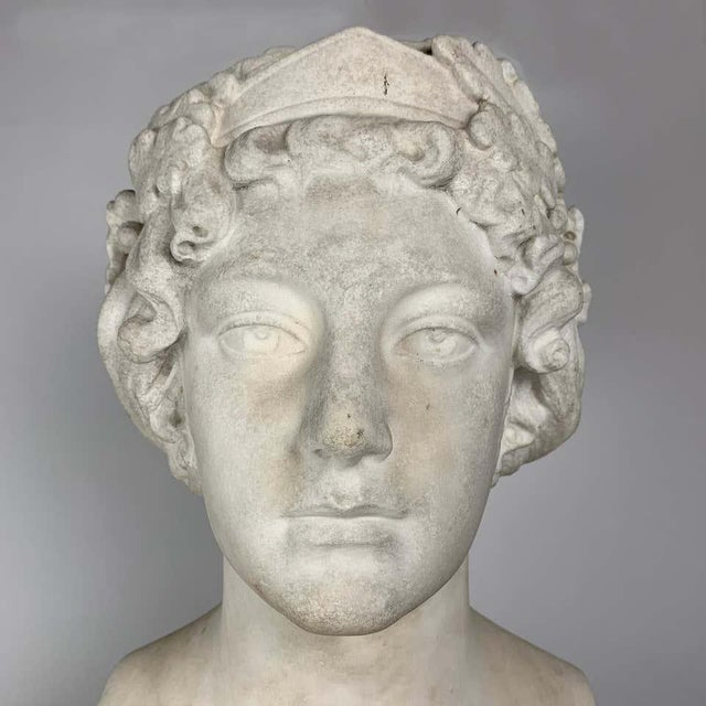 Late 19th Century 19th Century After the Greek Archaic Carved White Marble Bust of Calliope For Sale - Image 5 of 7