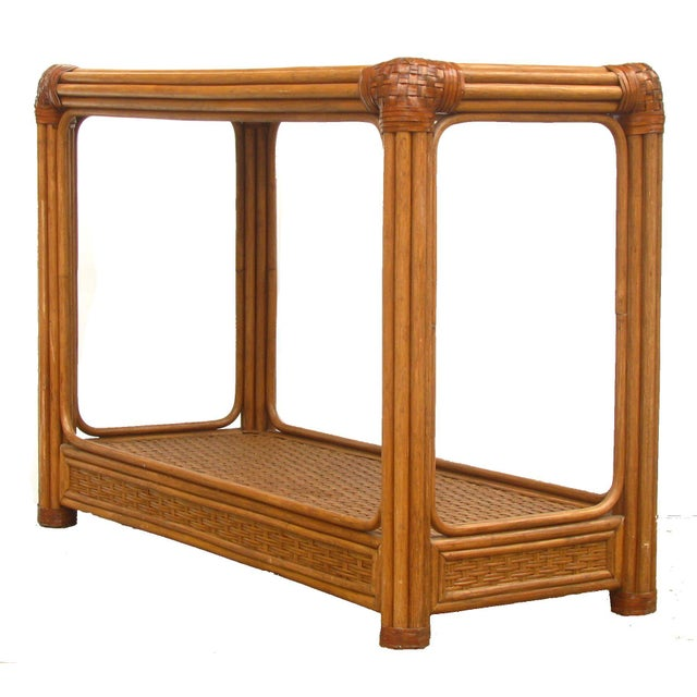 Mid-Century Rattan / Bamboo & Leather Console Table - Image 4 of 6