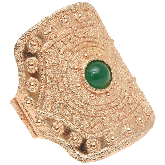 Vintage Napier Textural Gold Plated Green Glass Cuff Bracelet For Sale