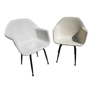 1950s Mid Century Fiberglass Molded Eames Style Arm Chairs - a Pair For Sale