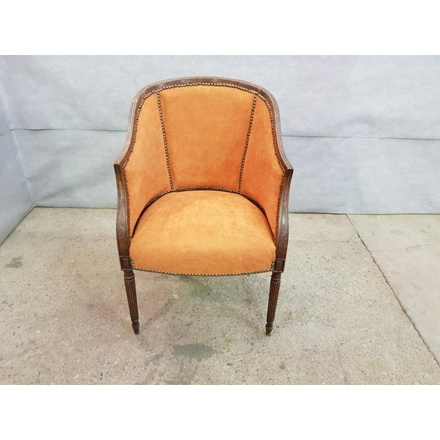 French Antique 19th Century Louis XVI Style Barrel Back Oak Bergère Neoclassical Armchair Peach Velvet New Upholstery....