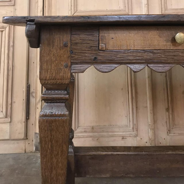 Mid 19th Century 19th Century Rustic Oak Desk Farm Table For Sale - Image 5 of 12