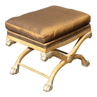 Vintage Marge Carson French Brown Bench Ottoman W Lion Head Claw Feet Accents For Sale