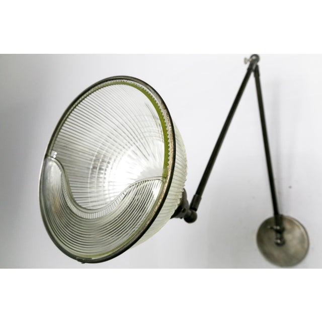 Reeded Holophane Shades as Armed Sconces For Sale - Image 10 of 12