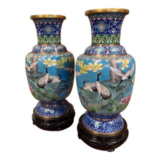 Pair of 20th Century Chinese Champlevé Enamel Vases on Stand With Bird Decor For Sale
