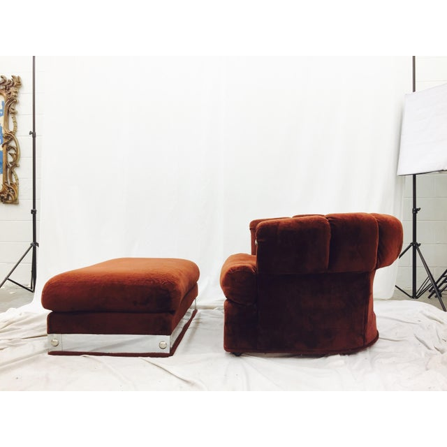Brown Vintage Mid-Century Modern Chair & Ottoman For Sale - Image 8 of 11
