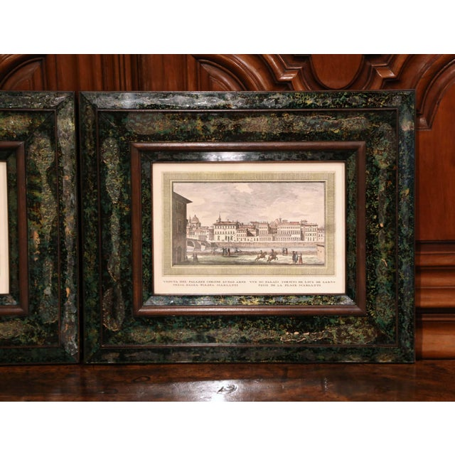 Baroque Pair of 19th Century Italian Florence Engravings in Ornate Églomisé Frames For Sale - Image 3 of 13