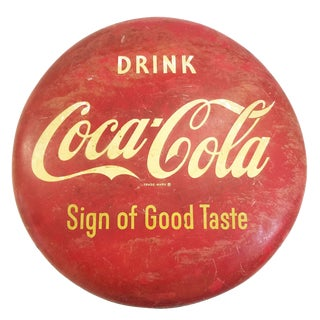 """36"""" Coca Cola """"Sign of Good Taste"""" Enameled Button Sign, Circa 1953 - 50th Anniversary Sale For Sale"""