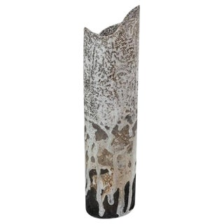 Franco Agnese Cylindric Ceramic Vase, France, 1960s For Sale