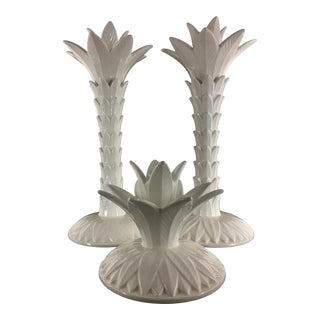 1970s Fitz and Floyd Rare Fine Porcelain Palm Tree Candle Holders Palm Beach Regency - Set of 3 For Sale