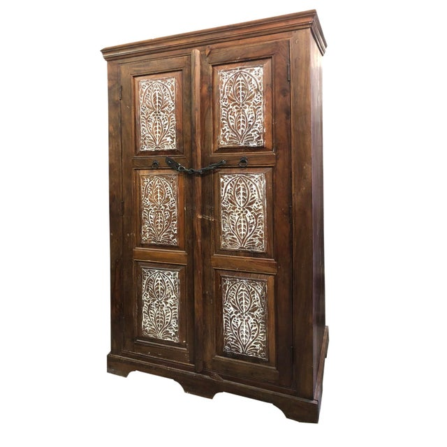 Brown Antique Rustic Handcrafted Floral Carving Cabinet For Sale - Image 8 of 8