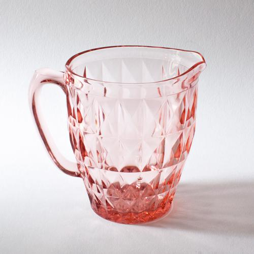 Blush Pink Depression Glass Faceted Pitcher - Image 2 of 4