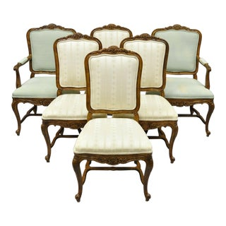Drexel Heritage Old Continent French Provincial Louis XV Style Dining Chairs - Set of 6 For Sale