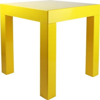 1970s Mid-Century Modern Yellow Plastic Side Table