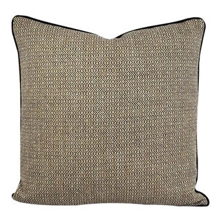 """F. Schumacher Mamet in Coal With Black Cording Pillow Cover - 20"""" X 20"""" Charcoal and Tan Fretwork Woven Pattern Cushion Cover For Sale"""