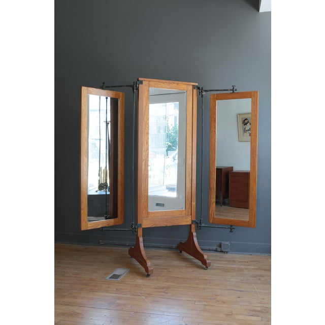 Antique Oak Tri-Fold Dressing Mirror - Image 2 of 4