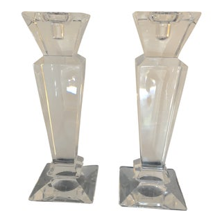 Towle 24% Lead Crystal Candle Holders - A Pair For Sale