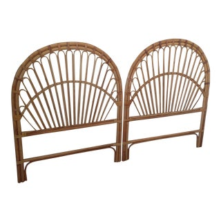 1970s Vintage Boho Chic Twin Bamboo Headboards - a Pair