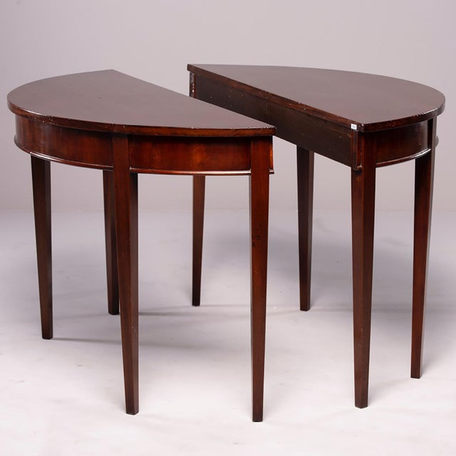 English Mahogany Demi Lune Tables - a Pair For Sale - Image 13 of 13