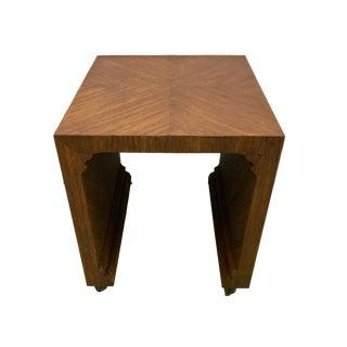 1980s Art Deco Baker Furniture Zebra Wood Accent Table For Sale