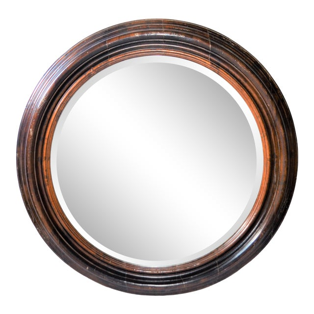 Baker Furniture Round Distressed Solid Maple Mirror For Sale