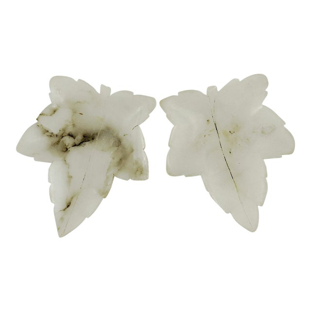 Alabaster Leaf Dishes - A Pair - Image 1 of 3