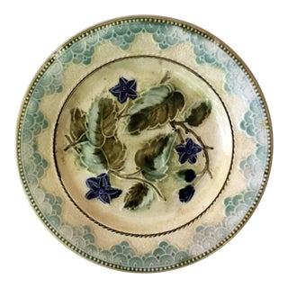 Antique Majolica Leaves & Blue Flowers Plate Circa 1890 For Sale