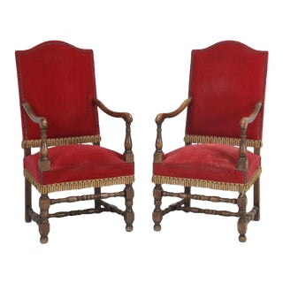 Antique 1880s French Throne Chairs - a Pair For Sale