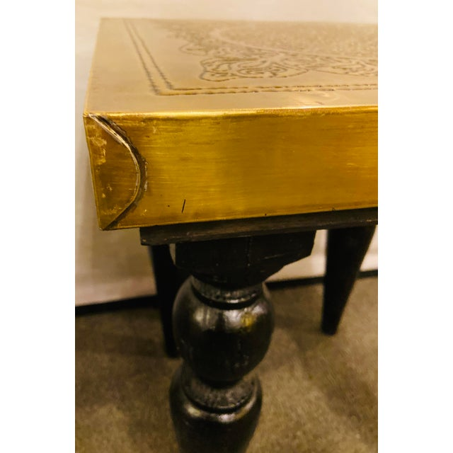 Moroccan End Tables in Fine Gold Brass & Carved Legs - a Pair For Sale - Image 11 of 13