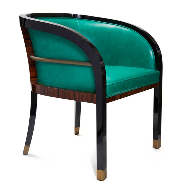 Animal Skin Macassar Ebony Black Lacquer and Bronze Trim Dining or Occasional Chair For Sale - Image 7 of 7