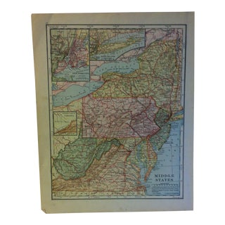 """Vintage Color Map on Paper, """"Middle States"""", Circa 1930 For Sale"""