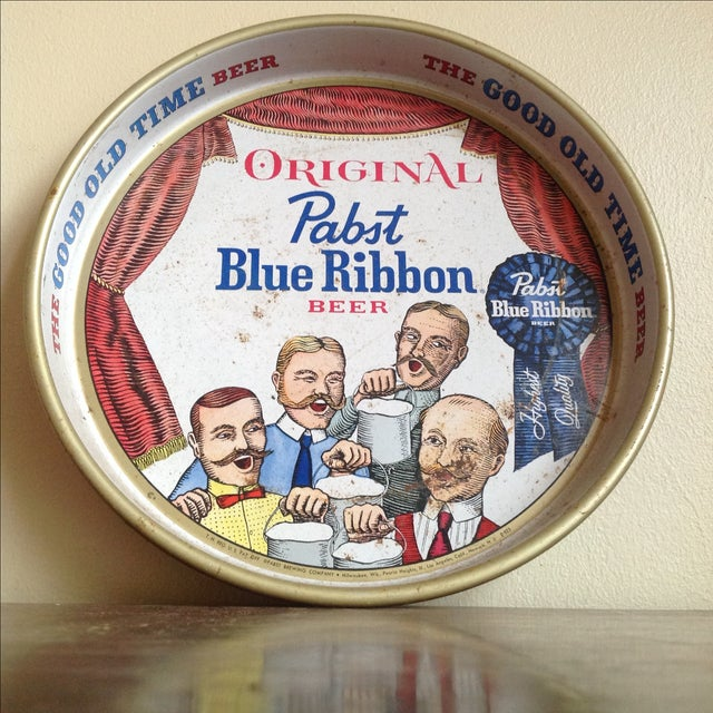 Vintage Pabst Blue Ribbon drink tray. The lettering and colors are still vibrant and easy to see even though this tray has...