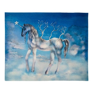 Surrealist Salvador Dali Blue Unicorn Lithograph Signed and Numbered 87/300 For Sale