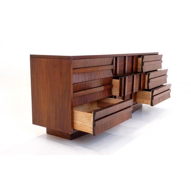Lane Sculptural/Brutalist Nine-Drawer Walnut Dresser For Sale - Image 4 of 9