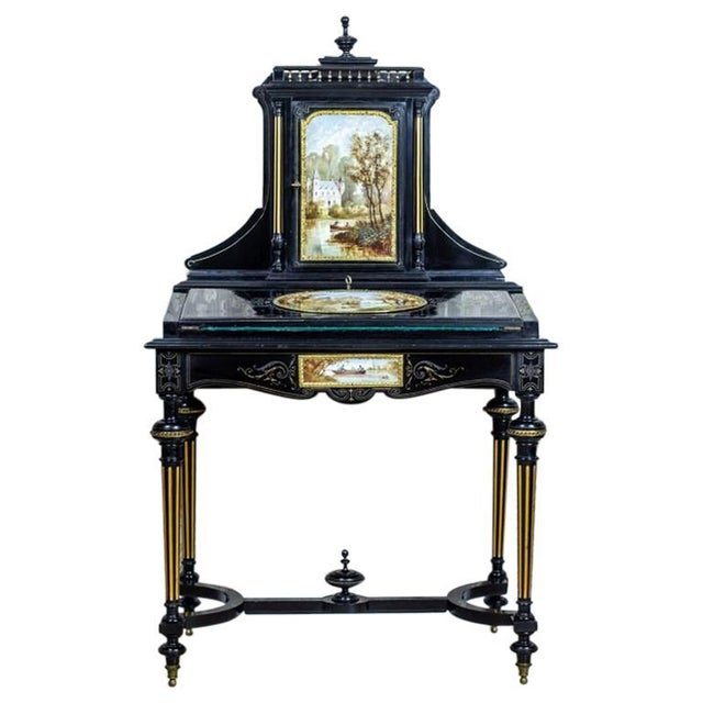 French Napoleon III Lady's Desk, circa 1870, with Porcelain Tableau For Sale - Image 13 of 13
